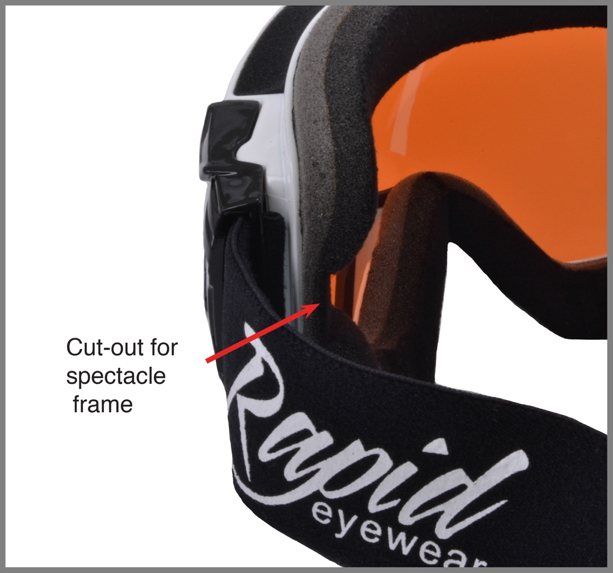 Ski goggles with glasses frame cut outs