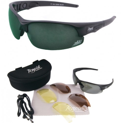 Edge Black Golf Sunglasses, Polarized